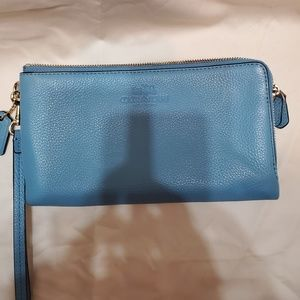 Coach Wristlet or Wallet double pockets blue